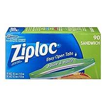 Ziploc Sandwich Bags, Easy Open Tabs, 90-Count