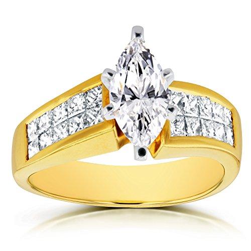 Bague de Fiançailles 21/8ctw Diamant Marquise en or jaune 18K (certifié) _ _ _ _ 7,5
