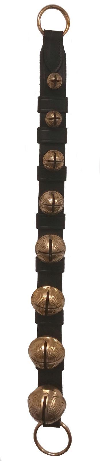 Made in USA Belsnickel 28 Inch Black Leather Solid Brass Sleigh Bell Door Hanger