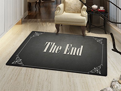 smallbeefly Movie Theater Bath Mats Carpet The End Quote with Swirled Frame on an Abstract Ombre Background Floor Mat Pattern Charcoal Grey Cream by smallbeefly