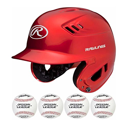 ting Helmet and Official League ball combo (Scarlet/One Size (Official Coolflo Batting Helmet)