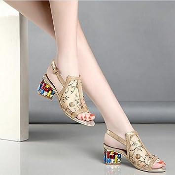 KHSKX Nouveau Printemps Avec Diamond Bouche De Poisson Des Chaussures Avec Des Sandales À Grosses Mailles Cm De Golden Summer,Quarante