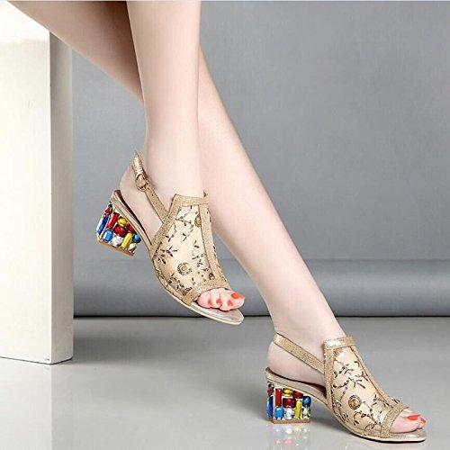 Avec Des Des De Thirty Mailles Poisson Grosses KHSKX Avec Diamond Printemps Cm Nouveau eight Sandales Bouche À Chaussures Summer De Golden Le qwfP8t