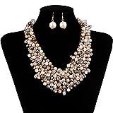 IPINK Fashion Women Big Faux Pearl Multi Strand Chunky Evening Jewelry Necklace Earrings Set