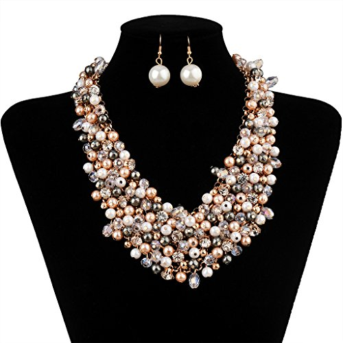 IPINK Fashion Women Big Faux Pearl Multi Strand Chunky Evening Jewelry Set -