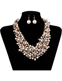 Fashion Women Big Faux Pearl Multi Strand Chunky Evening...