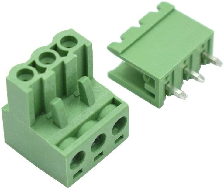 10 Pcs Hxchen 3Pin 5.08mm 2EDG Audio /& Video Accessories Straight Pin Female and Male PCB Pluggable Terminal Block Adapters Green