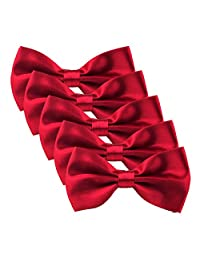 HDE Men's Wedding Party 5-Pack of Solid Color Formal Adjustable Pre-Tied Tuxedo Bow Ties (Red)