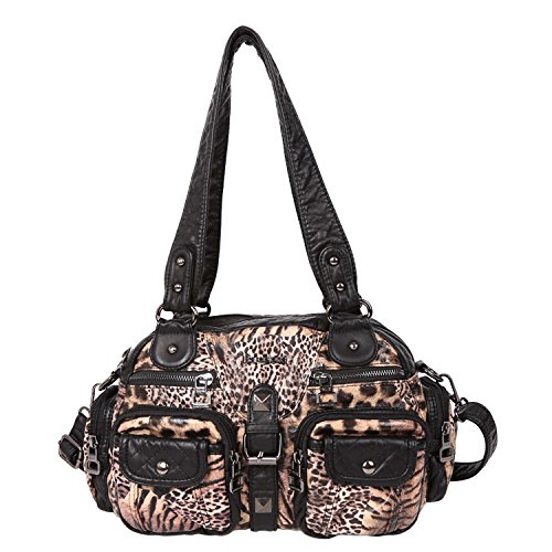 Fashion Bag Leopard (Angelkiss 2 Top Zippers Large capacity Handbags Washed Leather Purses Shoulder Bags AK18579 (Leopard-Brown))