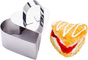 Pastry Tek 3.2 x 2.8 x 1.6 Inch Cake Ring Mold, 1 Heart Cooking Ring With Food Press - Small, Dishwasher-Safe, Stainless Steel Mousse Mold, Oven-Safe, For Pancakes or Cheesecakes - Restaurantware