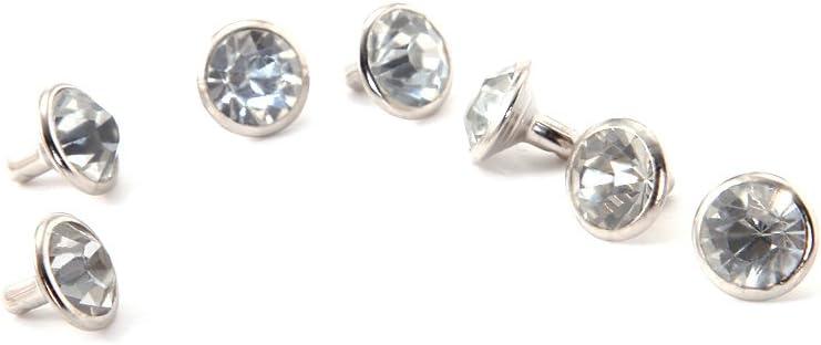 SY 100pcs DIY nail with diament rhinestone rivet brilliant 7mm silver