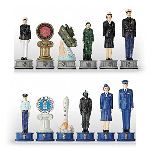 Italfama Airforce v.s Marines Hand Painted Polystone Chess Pieces ()
