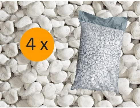 Metroquadrocasa 4 Sacchi da 25 kg ciottoli ornamentali di marmo Bianco Carrara 25//40 mm giardino
