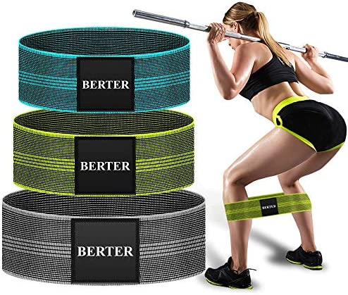 BERTER Resistance Bands for Legs and Butt, Workout Exercise Hip Bands, Fitness Booty Loop Non-Slip Bands for Squats, Deadlifts, Yoga, Sport, Pack of three