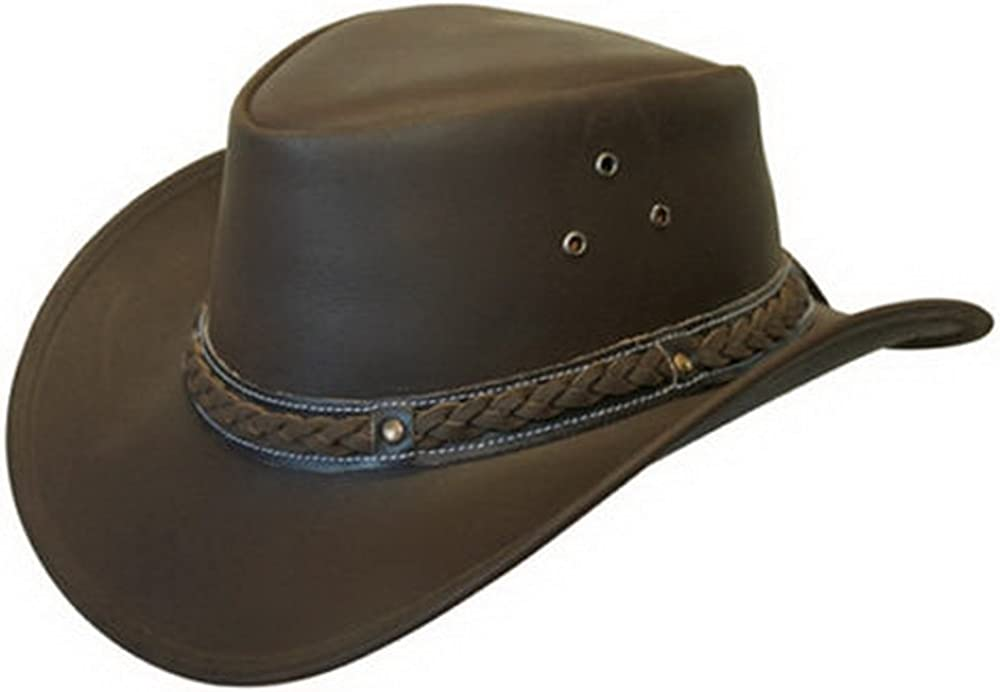 Infinity Unisex Leather Bush Safari Aussie Cowboy Style Classic Western Outback Hat