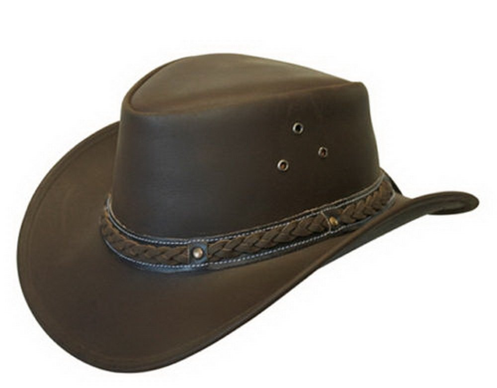 LEATHER DOWN UNDER HAT AUSSIE BUSH COWBOY STYLE Classic Western Outback Brown/Black