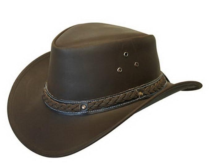 c7e0740c29c17 Unisex Marrón Safari de Cuero Arbusto Australiano Cowboy Style Clásico  Occidental Outback Sombrero S