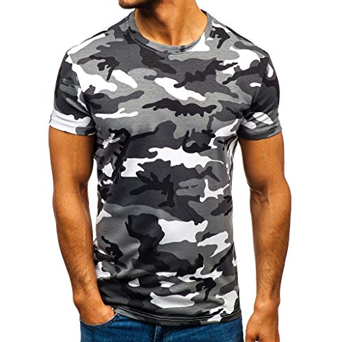 Beautyfine Shirts Tops Men's Camouflage Striped Pattern Casual Short Sleeve Blouse -