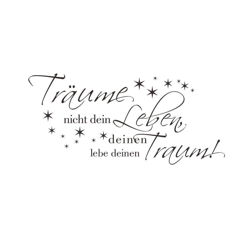 HSLwandsticker - wandtattoo deutschen charakter traume mit stars fur schlafzimmer und wohnzimmer (kleine, schwarze)