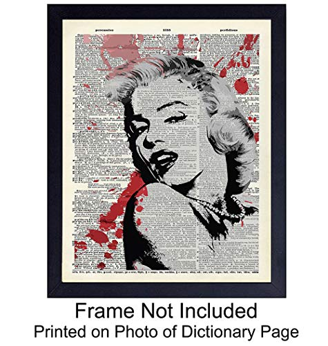 (Marilyn Monroe Wall Art Print On Photo of Dictionary Page - Great Gift For Hollywood Movie Fans and Home Theaters - Banksy Street Art - Steampunk Chic Home Decor -)