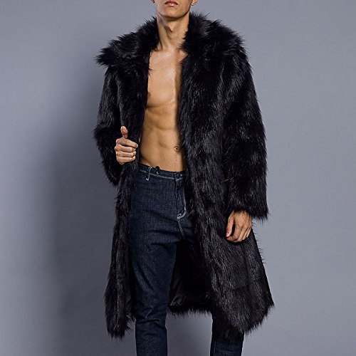 Men Long long Chunky Solid Casual Daily imitation sleeved Plus Collar coat fur Smooth autumn Black Size fur winter Lemumu dwqY8d