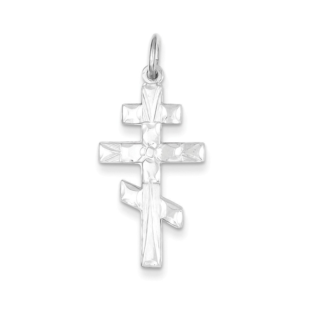 Mireval Sterling Silver Eastern Orthodox Cross Charm on a Sterling Silver Chain Necklace 16-20