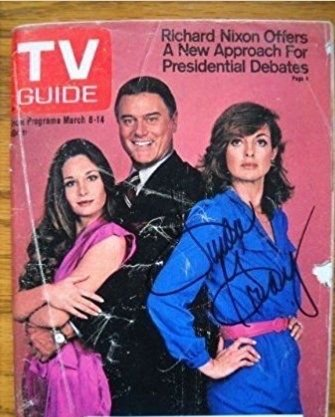 This is a Signed Linda Gray TV Guide with LARRY HAGMAN the famous J.R. EWING Mary Crosby who played Kristin Shepard Sue Ellen Ewing's sister and Linda Gray who portrayed - Linda Who Is