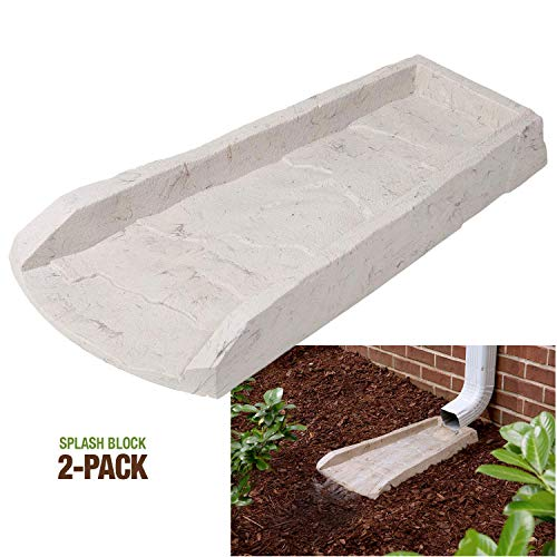 2-Pack Decorative Downspout Natural Stone Texture Splash Block Rain Gutter Drain Extender