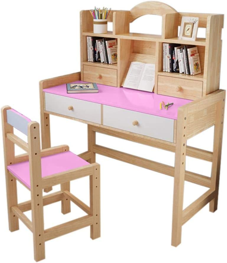 Adjustable Height Wooden Student Desk and Chair Set with Drawers and Bookshelves, Writing & Drawing Desk, Simpleness Study Table for Child,Bedroom Living Room Furniture (Pink)