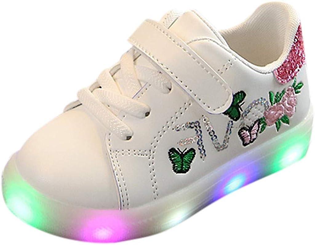 Riou Zapatos LED Niños Niñas Zapatillas Deportivas Unisex Calzado Deportivo Luces Zapatos Iluminados Lentejuelas Bordado Antideslizante Chicos Chicas Zapatos Calzado