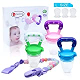 Edealing Baby Food Feeder/Fruit Pacifier BPA Free & 100% Silicone Nipple Fresh Food Milk Nibbler Feeder Feeding Tool Safe Baby Supplies Toys with Unique Rotating Handle (Multicolored)