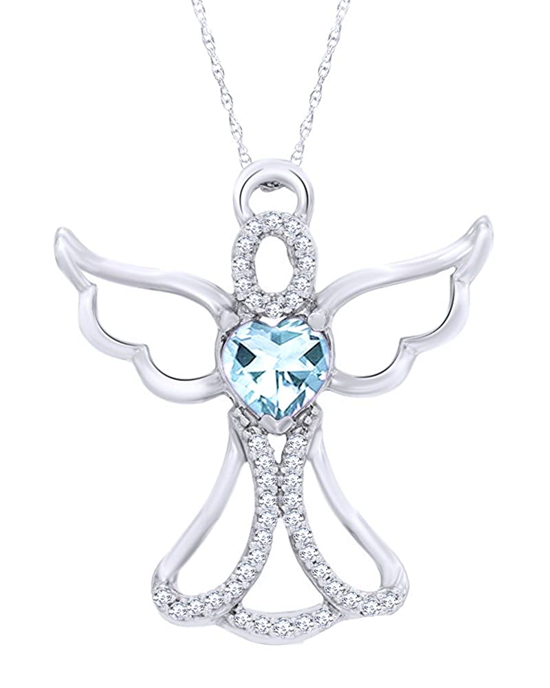 Wishrocks 14K White Gold Over Sterling Silver 0.125 CT Diamond Angel Heart Pendant 18 Chain Necklace