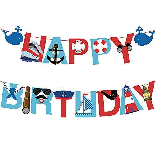 17pcs Nautical Happy Birthday Banner with Baby Whale Sailboat anchor Lifebuoy Swimming Ring Telescope Navy Suit Kaleidoscope Navy Cap Cruise Ship Big Pipe Lighthouse Coordinate Tower for Kids Baby Show Theme Birthday Festival Thanksgiving Chrismas Happy New Year Party ()