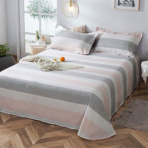 Cotton Sheets Single-Piece Student Dormitory Single Summer Cotton Quilt Single Double Nordic Girl ins Wind Soft and Comfortable Skin-Friendly Breathable Line Rhyme Beauty Powder 230250cm (Mango Tango Pink Quilt)