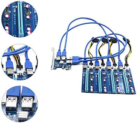 Qagazine PCI Expansion Card 1 to 4 PCI Slots USB 3.0 Converter Adatper PCIE Riser Cards Mining Device for Bitcoin Mining