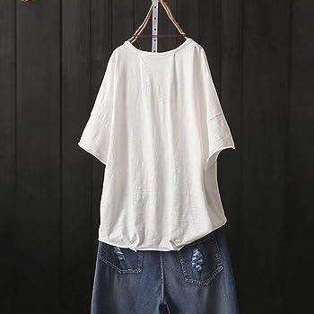 TUDUZ Blusas Mujer Media Manga Tops De Talla Grande Camisa De Bolsillo con Estampado De Dibujos Animados (Blanco, L): Amazon.es: Ropa y accesorios