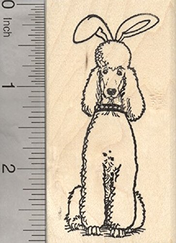 Easter Poodle Rubber Stamp, Dog in Bunny (Season Poodle)