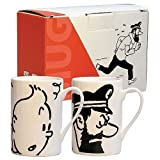 Set of two porcelain mugs Tintin and Captain Haddock Black and White (47947)