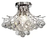 Top Lighting Modern Style 3-Light Chrome Finish Crystal Chandelier Flush Mount Ceiling Light Fixture W16'' x H12''