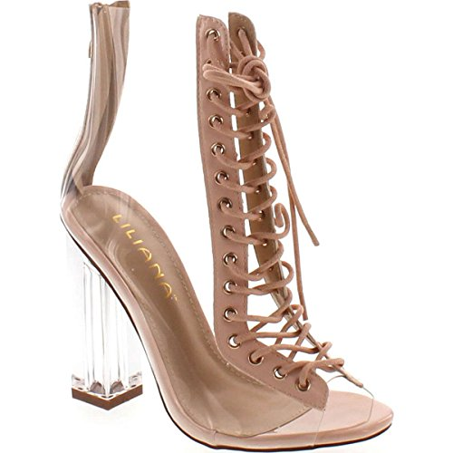 Liliana Clear Translucent Transparent Lace Up Peep Toe Ankle Bootie W Perspex Block Heel,Nude,8.5