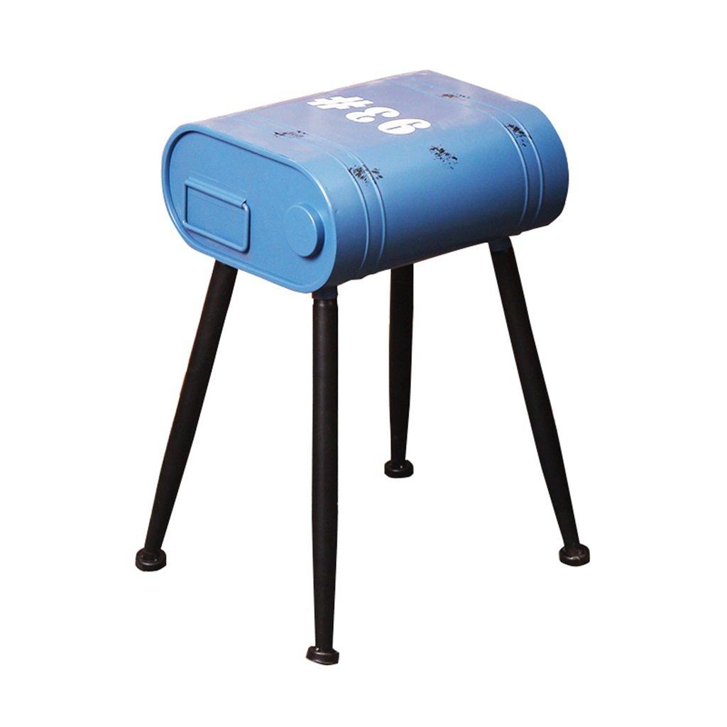 ヴィンテージバースツールメタルアイロンキッチンバーダイニングチェアとして朝食スツールレトロハイスツールバーツールバースツール屋内屋外レジャーシートシェービー工業デザイン (色 : Blue) B07F8MMN5X Blue Blue