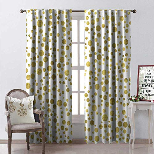 Crystal Clear Astoria (Hengshu Polka Dots Waterproof Window Curtain Illustration of Golden Polka Dots Vintage Style Art Deco Pattern Bridal Decorative Curtains for Living Room W84 x L84 Full)