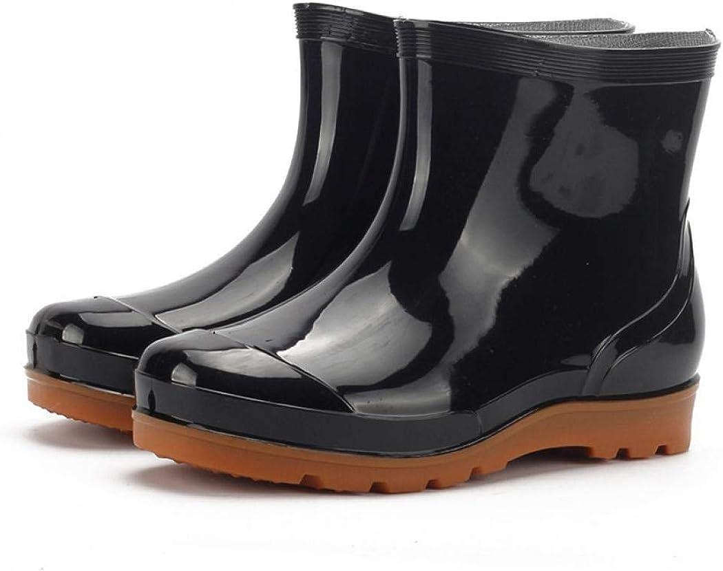 Laple Mens Rain Boots Hardwearing Anti-skidding Patchwork Slip On Waterproof Non-Slip Plastic Cement Rain Boots Rain Ankle Boots
