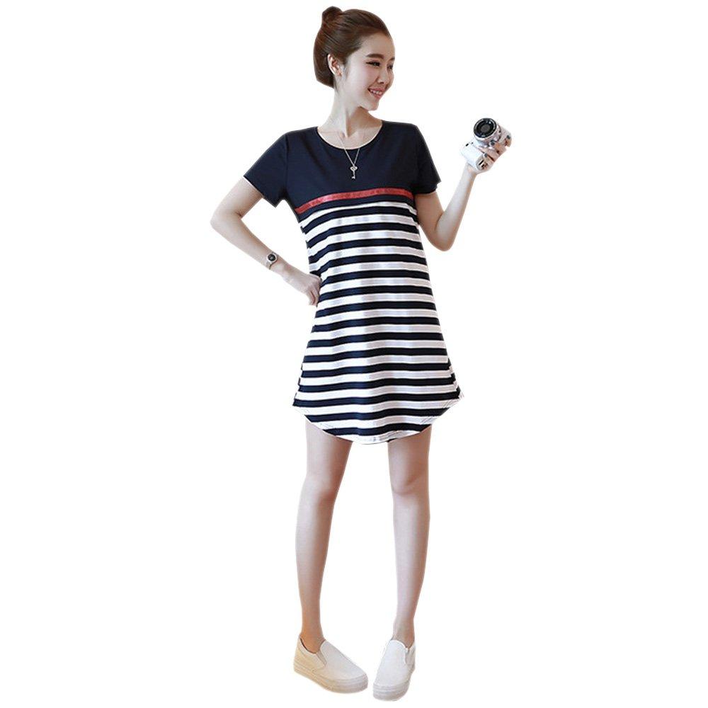 bf9d72a5c45a BOZEVON Donna Abito per Allattamento - Vestito Premaman Classico Manica  Corta Striscia Moda Estivo Cotone T-shirt Vestito  Amazon.it  Abbigliamento