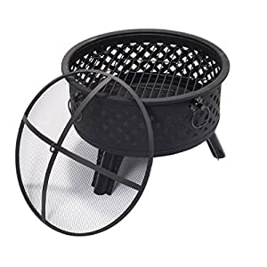 Metal Round Firepit Patio Garden Stove Fire Pit Outdoor Brazier With Poker 26""