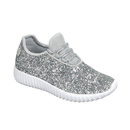 Remy18k Silver Lace up Rock Glitter Fashion Sneaker For Children/Girl/Kids -2