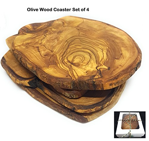 Wood Drink Coasters (Olive Wood Coasters 100% Natural - Set of 4 - Handmade - With a Special Gift Box)