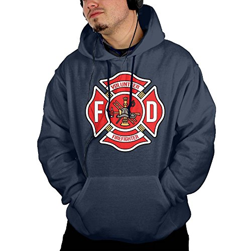 Volunteer FireFighter 100% Cotton Men Hoodies Fashion Hoodie With Pockets (Early Meme Christmas Lights)
