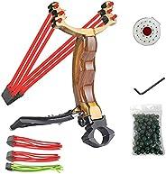 MUSHYO Professional Power Slingshot Set, Outdoor Catapult Slingshots for Hunting, High Velocity Sling Shot for