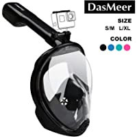 DasMeer Snorkel Mask Full Face Seaview 180°GoPro Compatible Mask with Easy Breathing Easy Draining Design and Anti-Fog Anti-Leak Technology,for Adults Kids Swimming, Snorkeling Sea